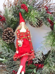 Christmas elf girl  Tilda style fabric doll by HappyDollsByLesya