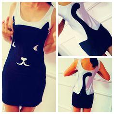 Black Cat Print White Tank Dress