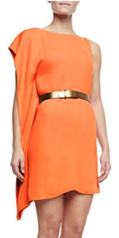 asymmetric drape sleeve belted dress  http://rstyle.me/n/iz8mmpdpe