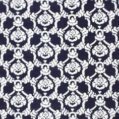 Nautical Ropes on Navy Blue Cotton Lawn Fabric - A famous designer score…