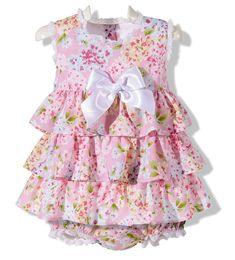 Precioso vestido jesusito con braguita para niña bebe con volantes en rosa estampado con flores infantil