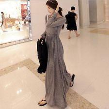 Fashion Women Lady Long Sleeve Autumn Chic Casual Long Maxi Elegant Gown Dress M