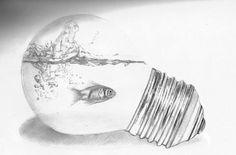 Swimming in the light bulb | 2b, 4b pencils, size A4 by Worldofinkdots
