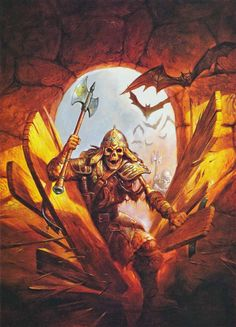 Jeff Easley's first Dragon cover art for #138, October 1988, also appeared on SSI's Eye of the Beholder video game in 1991; from The Art of the AD&D Fantasy Game, 1989