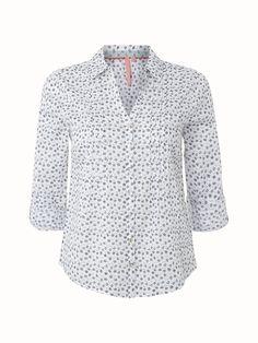 White Stuff Long Boat Ditsy Shirt in Cloud White