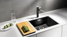 BLANCO SUBLINE 500-IF SteelFramed 1mm edge inset Silgranit sink with matching tap