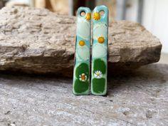 Long and Slender Wild Flower Enamel Earring by BlueHareartwear