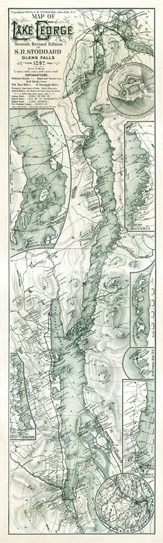 Map of Lake George - 1897 - Glens Falls also includes: Fort Ticonderoga, North West Bay, Bolton, Caldwell, The Narrows, Dresden We produce all of our on images in shop, and we are happy to offer custo