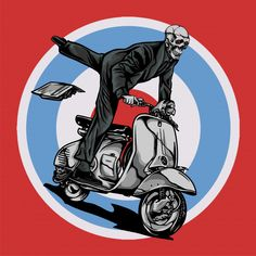 Vespa scooter mod ride by skull Premium Vector - Ide tato - Vespa Vbb, Piaggio Scooter, Vespa Lambretta, Vespa Scooters, Vespa Vector, Vespa Logo, Motos Retro, Childhood Tv Shows, Art Logo