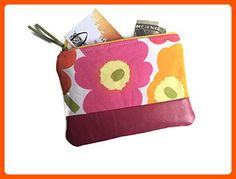 Pink Small Poppy Leather Coin Purse, Zipper Pouch - Dont forget to travel (*Amazon Partner-Link)