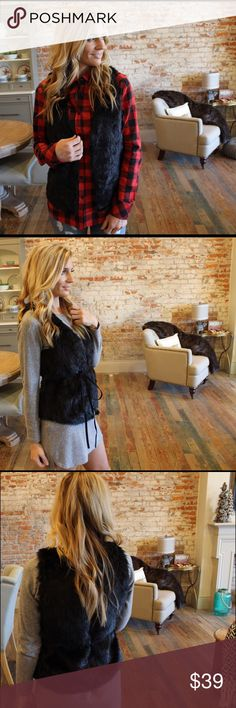 "Black faux fur vest with suede belt Modeling size small.  Hidden front closure and vegan suede removable tie belt.  65% acrylic 35% polyester, lining: 100% polyester.  Bust laying flat: S 17"" M 18"" L 19"" length S 24"" M 25"" L 26"". Add to bundle to save when purchasing two or more items from my closet. AB10241111 Jackets & Coats Vests"