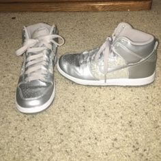 cd9ae1039f0afd Silver hi-top Nikes Silver nikes in near perfect condition