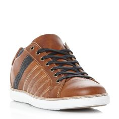 faca881ac05 DUNE MENS TARGET - Stitch Detail Lace Up Trainer - tan | Dune Shoes Online  Mens