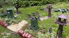 Military Base Classic toy soldiers Watch Tower Sandbags Wire Fence