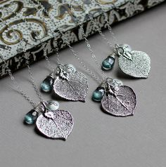 Aspen Leaf Personalized Necklace  Bridesmaid GIFT by LRoseDesigns, $188.10