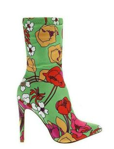 Get Floral Print Light Green Ankle Boots for only exclusively at – SinglePrice Fashion Models, Heeled Boots, Shoe Boots, Green Ankle Boots, Funky Shoes, Casual Party, Ankle Socks, Floral Prints, Pattern