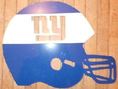"Awesome, blue and white powdercoat finish, steel, New York Giants helmet. 12"" tall x 16"" wide, steel logo. Hangs easily with 2 brad-nails, indoors or out. Made out of thick, high quality sheet-metal. The powdercoat finish is flawless and will last forever outdoors or inside."
