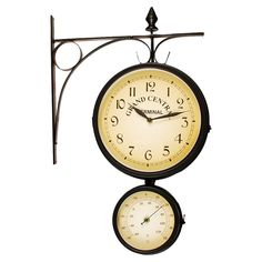 Grand Central Indoor/Outdoor Wall Clock  Thermometer