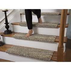 Good Caprice Bullnose Carpet Stair Tread With Adhesive Padding, By Tread Comfort  (Single Wide Tread, Beach Bum)