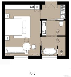 If you change the bathroom and add a small kitchen is a pretty good studio layout Master Bedroom Plans, Bedroom Floor Plans, House Floor Plans, Bedroom Small, The Plan, How To Plan, Master Suite Layout, Hotel Floor Plan, Hotel Room Design