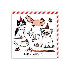 Party Animals Square Greeting Card at http://www.ohhdeer.com