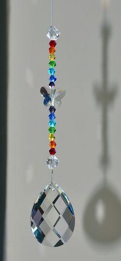 38 mm Hanging Lead Crystal Almond van CrystalsAndRainbows op Etsy, €5.70
