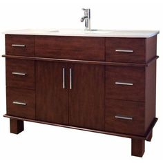 American Imaginations 48'' Single Transitional Birchwood-Veneer Bathroom Vanity Set
