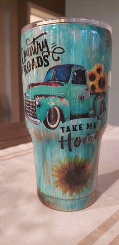 Vintage Distressed Truck Sunflowers Stainless Steel Double Walled Tumbler Glitter Personalize Custom Cup Country Roads Take Me Home by CraftedwithLoveNJ on Etsy Diy Tumblers, Custom Tumblers, Glitter Tumblers, Acrylic Tumblers, Tumblr Cup, Custom Cups, Glitter Cups, Tumbler Designs, Cup Design