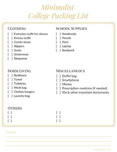 Minimalist College Packing List Essentials For Girls College Packing Lists College Packing College Checklist