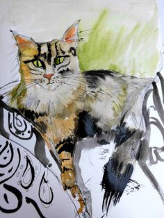 Cat Art. Beautiful Print of  a Watercolor painting by roswebbart, $14.00