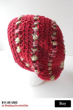 Crochet Slouchy Hat in Rusty Red with Variegated Stripes - Ready to Ship - Reduced Price - Clearance