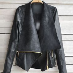 Sexy Ladies Womens Slim Biker Motorcycle Faux Soft Leather Zipper Jacket Coat  #mingchuan #BasicJacket