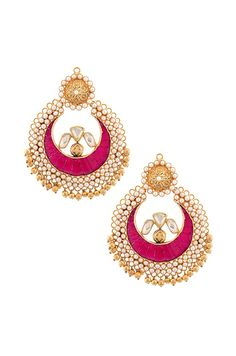 Gold and pearl Amrapali earrings. #IndianFashion #IndianJewellery