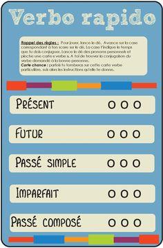 [Jeu de plateau pour la classe] conjugaison - Verbo-rapido? Plateau + cartes des joueurs (existe pour plusieurs niveaux) | http://monecole.fr