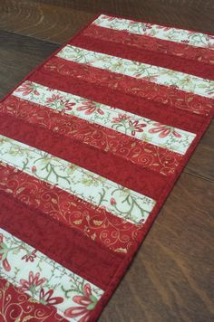 Quilted Christmas Table Runner modern by WarmandCozyQuilts on Etsy, $55.00
