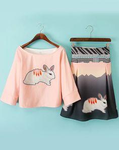 rosa bedrucktes Shirt Halbarm mit Rock