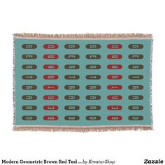 Modern Geometric Brown Red Teal Custom Name Throw Blanket Red And Teal, Photo Memories, Made Goods, Keep It Cleaner, Are You The One, Colorful Backgrounds, Best Gifts, Gift Ideas, Blanket