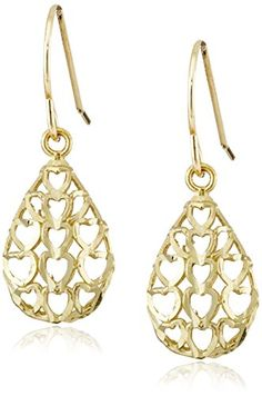 10k Gold Earrings with Heart Cutouts.More info for gold and silver earrings;silver earrings;pearl earrings;pearl earrings;feather earrings could be found at the image url.(This is an Amazon affiliate link and I receive a commission for the sales)