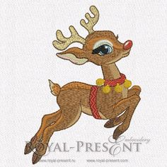 Machine Embroidery Design – Rudolph The Red-nosed Reindeer