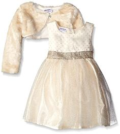 Amazon.com  Blueberi Boulevard Little Girls  Toddler Faux Fur Shrug Beaded  Waist Chiffon Dress 83cd5169c