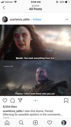 Rude purple potato dude goin against a bad as can be female bulldog Disney Marvel, Marvel Memes, Marvel Avengers, Marvel Comics, Avengers Memes, Wanda And Vision, Fandoms, Scarlet Witch, Marvel Characters