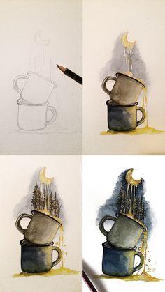 (@rosies.sketchbook) mini watercolor tutorial of moon dripping in mugs. #watercolor #watercolour #painting #sketch #art #artist #artwork #draw #drawing #doodle #watercolorist #illustration #illustrate