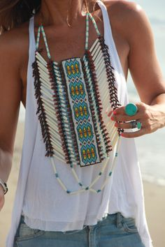 Navajo inspired chest piece & turquoise.