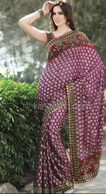 Glamorous Violet Embroidered Saree