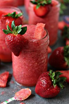 Boozy Strawberry Watermelon Slushies | Cravings of a Lunatic