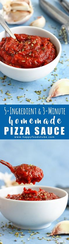 5-Ingredient & 3-Minute Homemade Pizza Sauce Recipe. There is no cooking or blending involved. How to make a best pizza sauce from scratch via @happyfoodstube