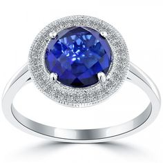 3.03 CTW Sapphire & Diamond Fashion Cocktail Ring 14k White Gold