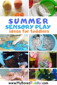 Summer Sensory Play Ideas for Toddlers - sensory bins bottles and bags with water sand and more - toddler activities toddler fun summer play ideas for 1 year olds 2 year olds 3 year olds. Quiet Toddler Activities, Toddler Sensory Bins, Summer Activities For Toddlers, Activities For 2 Year Olds, Toddler Play, Infant Activities, Sensory Play, Toddler Preschool, Toddler Crafts