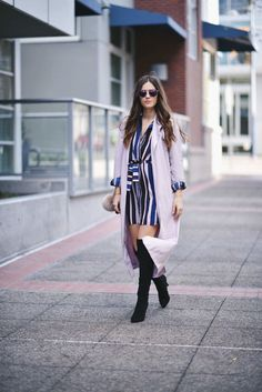Layer a lightweight jacket over your striped dress for a chilly date night.