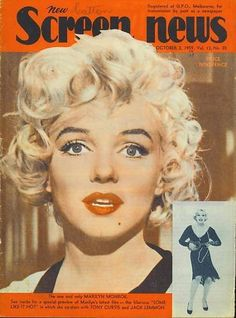 """New Screen News - October 2nd 1959, magazine from Australia. Front cover photos of Marilyn Monroe in publicity for """"Some Like It Hot"""", 1959."""